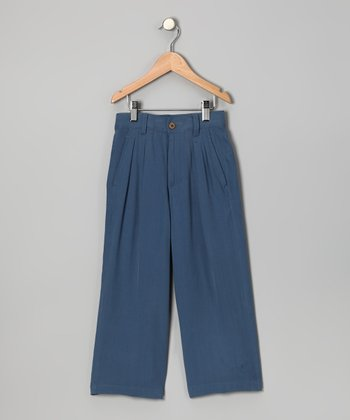 Whale Blue Fishbone Silk Pants - Toddler & Boys
