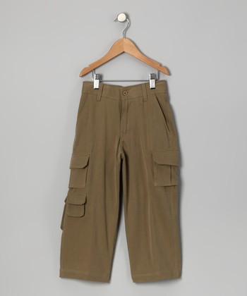 Monkey Brown Havana Silk-Blend Cargo Pants - Boys