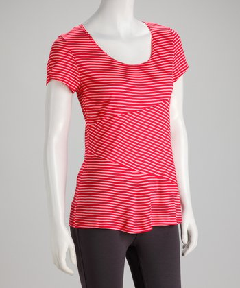 Red & White Stripe Short-Sleeve Top - Women