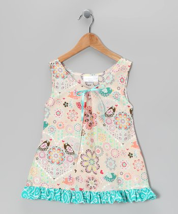 Beige Fanciful Bird Swing Dress - Toddler