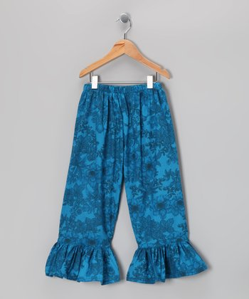 Teal & Blue Flower Ruffle Pants - Toddler & Girls