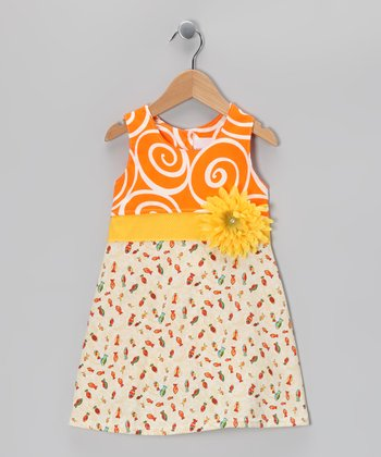 Orange Fishy Flower Dress - Infant & Toddler