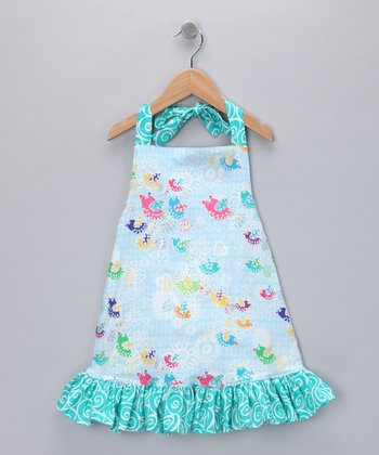 Blue Ruffle Halter Dress - Toddler & Girls