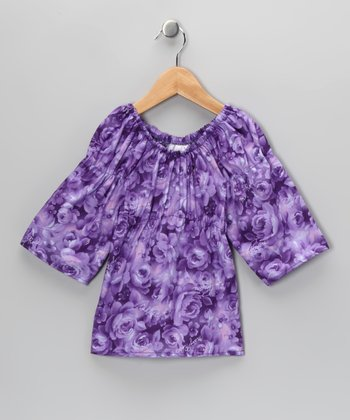 Purple Rose Peasant Top - Infant, Toddler & Girls