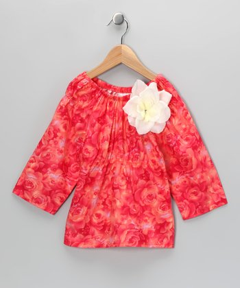 Coral Rose Flower Peasant Top - Toddler & Girls