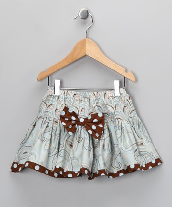 Brown & Light Blue Twirl Skirt - Toddler & Girls