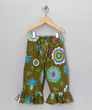 Green Euro Pop Ruffle Pants - Infant, Toddler & Girls