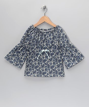 Navy Paisley Peasant Top - Infant, Toddler & Girls