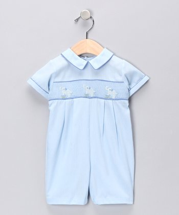 Light Blue Elephants Romper