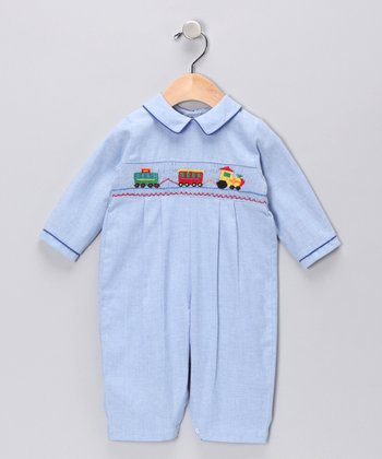Light Blue Trains Pleated Playsuit