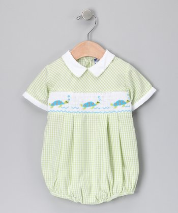 Carriage Boutique Green Gingham Turtle Bubble Bodysuit - Infant