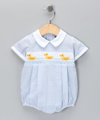 Carriage Boutique Blue Duck Seersucker Bubble Bodysuit - Infant