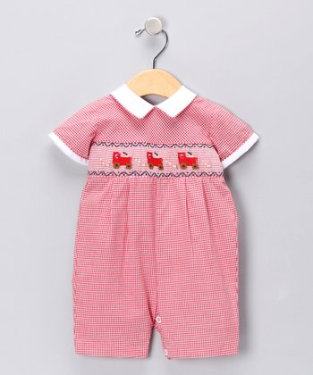 Carriage Boutique Red Gingham Trains Romper - Infant