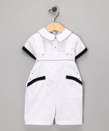 White & Navy Romper - Infant