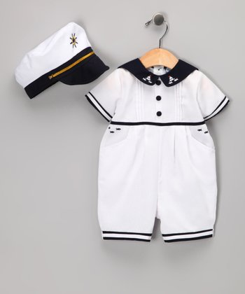 White Sailboat Romper - Infant