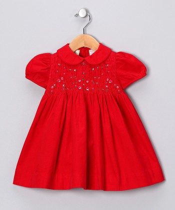 Red Flower Smocked Dress - Girls