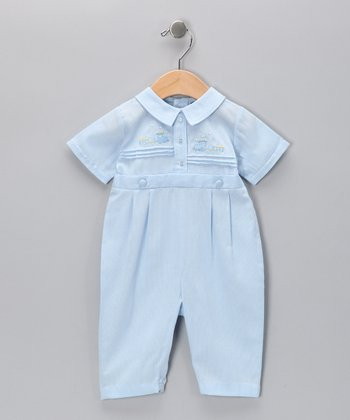 Carriage Boutique Light Blue Train Playsuit - Infant
