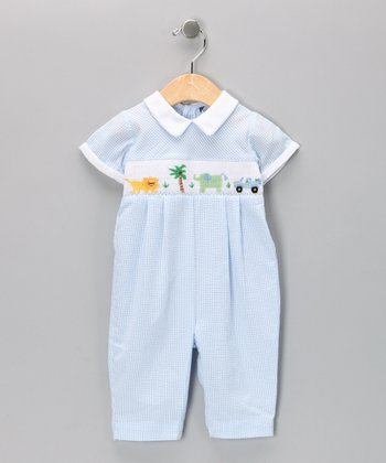 Carriage Boutique Light Blue Elephant Smocked Playsuit - Infant
