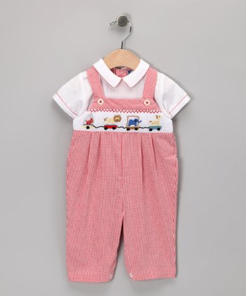Red Toy Train Overalls - Infant