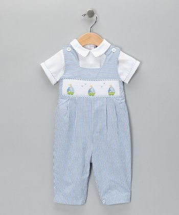 Carriage Boutique Blue Boat Seersucker Overalls & Top - Infant