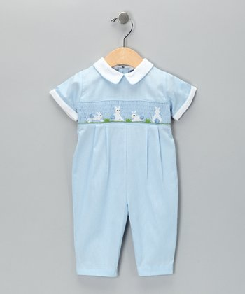 Carriage Boutique Blue Rabbit Smocked Playsuit - Infant