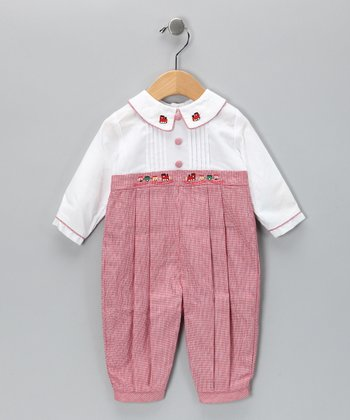 Carriage Boutique Red & White Train Pleated Playsuit - Infant