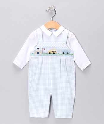 Carriage Boutique Blue Gingham Bus Layered Playsuit - Infant