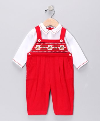 Red Corduroy Bear Layered Playsuit