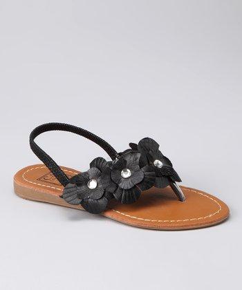 Black Rhinestone Flower Sandal