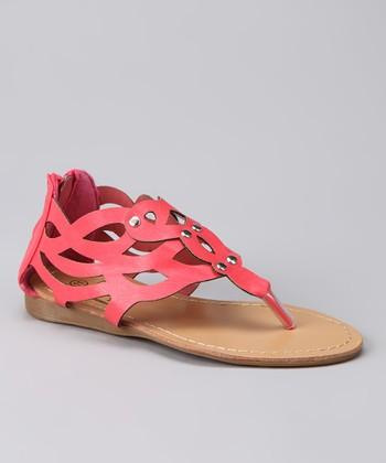Coral Zipper Sandal