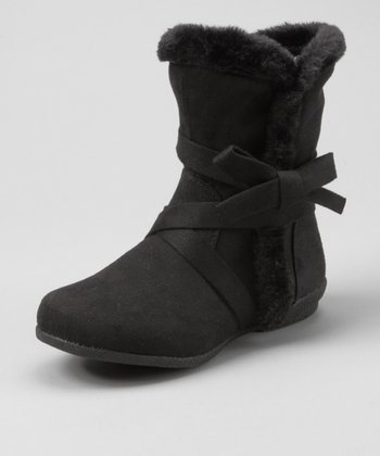 Black Bow Fuzzy Boot