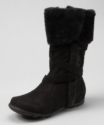 Black Faux Fur Fold-Over Boot