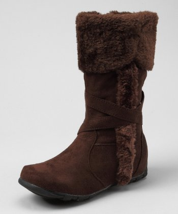 Brown Faux Fur Fold-Over Boot