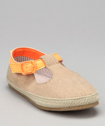Orange & Beige Les T-Strap Shoe