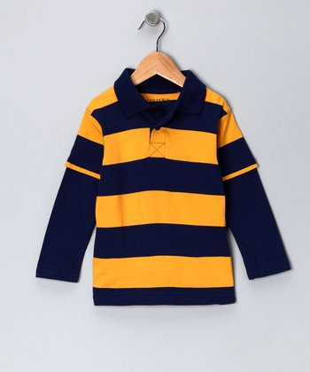 Deep Navy Stripe Layered Polo - Toddler & Boys