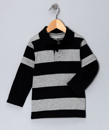 True Black Stripe Layered Polo - Toddler & Boys