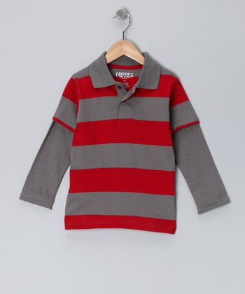 Vintage Red Stripe Layered Polo - Toddler & Boys