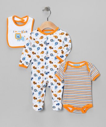 Orange & Blue 'King' Lion Footie Set