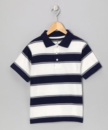 Navy Stripe Polo - Boys