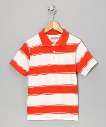 Orange Stripe Polo - Boys