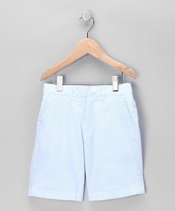 Blue Seersucker Shorts - Boys