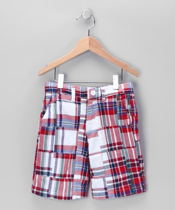 Red Baxter Patch Plaid Shorts - Toddler & Boys