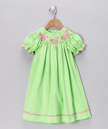 Lime Piggy Corduroy Bishop Dress - Infant, Toddler & Girls