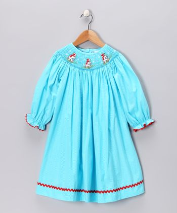 Turquoise Polar Bear Smocked Dress - Infant, Toddler & Girls