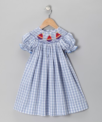 Blue Plaid Sailboat Bishop Dress - Infant & Girls
