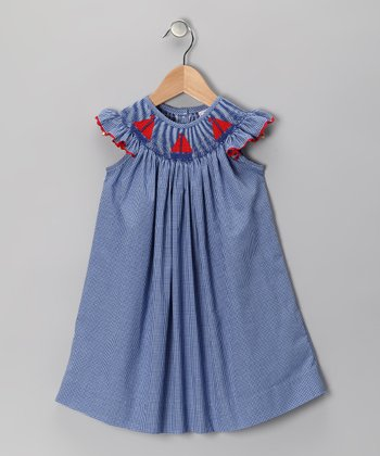 Navy Sailboat Angel-Sleeve Dress - Infant, Toddler & Girls