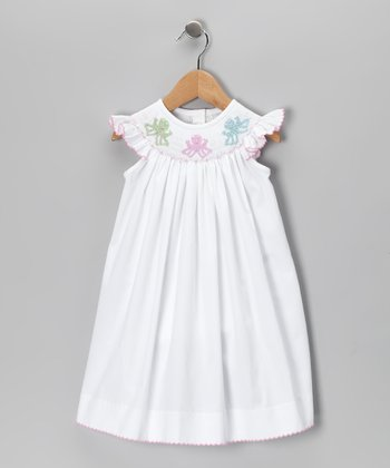 White Octopus Angel-Sleeve Dress - Infant