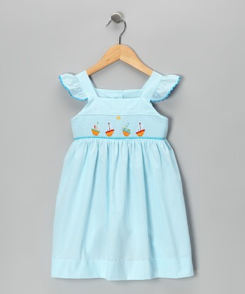 Blue Boat Angel-Sleeve Dress - Infant, Toddler & Girls