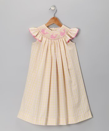 Yellow Whale Angel-Sleeve Dress - Infant, Toddler & Girls