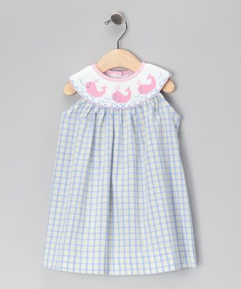 Blue & Pink Whale Yoke Dress - Infant, Toddler & Girls